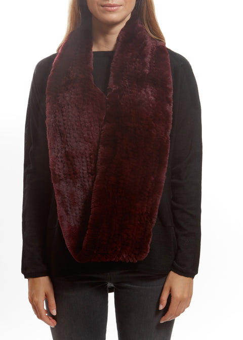 Burgundy Knitted Rabbit Double Snood With Fur Trim | Jessimara London
