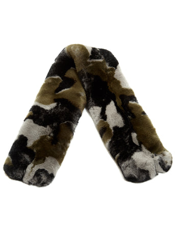 Fur 5 Eight Khaki Camouflage Rex Rabbit Fur Scarf