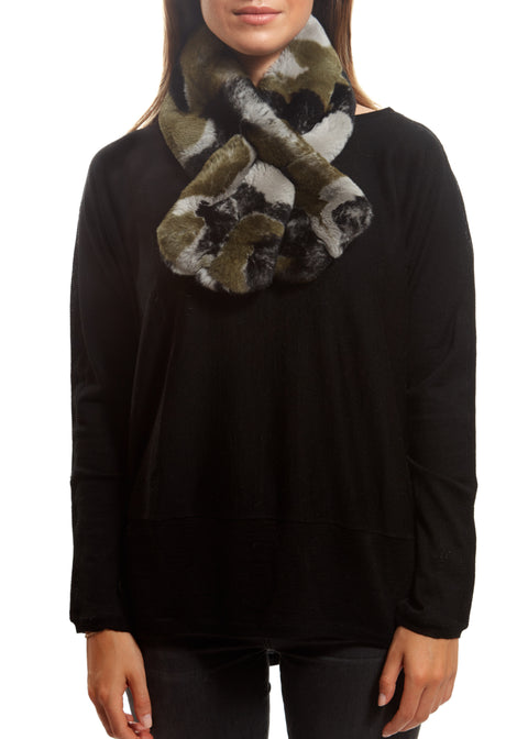 Khaki Camouflage Real Rex Rabbit Fur Scarf | Jessimara London
