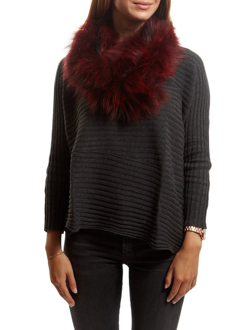 Burgundy Knitted Fox Fur Double Snood With Fur Trim