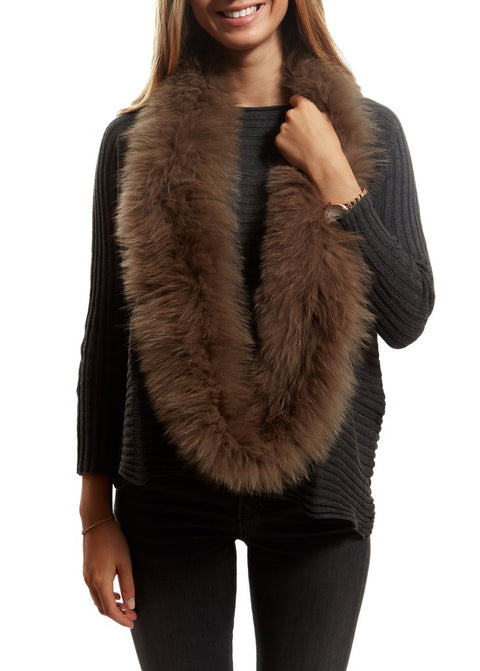 Taupe Knitted Fox Fur Double Snood With Fur Trim