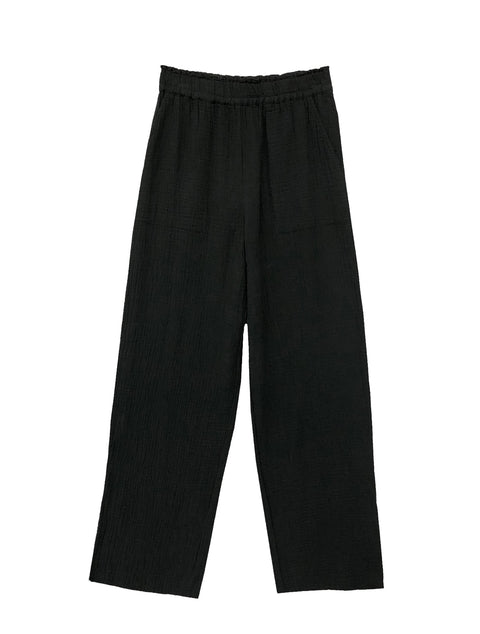 'Leon' Black Loose Trousers