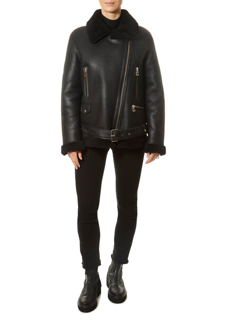 Black Aviator Sheepskin Coat