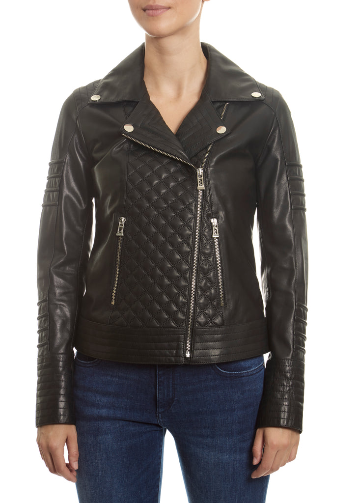 Black 'Quilted' Leather Jacket | Jessimara London