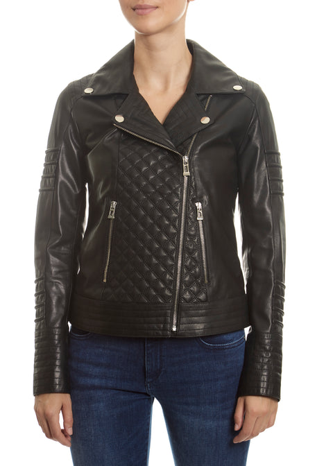 Black 'Quilted' Leather Jacket