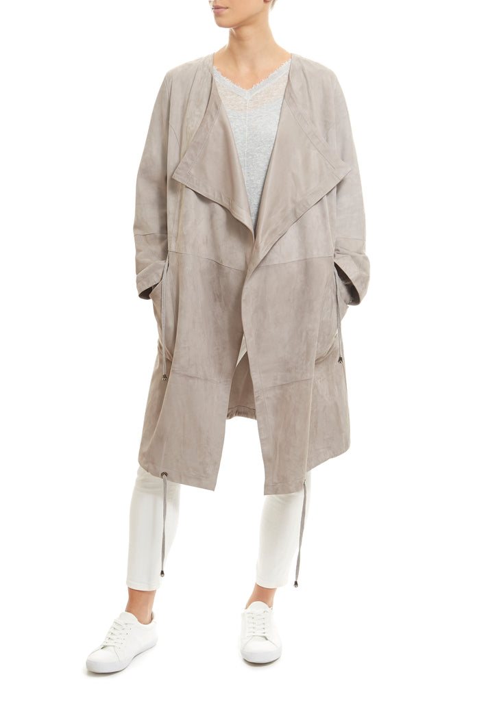 Long Light Grey Suede Coat | Jessimara London