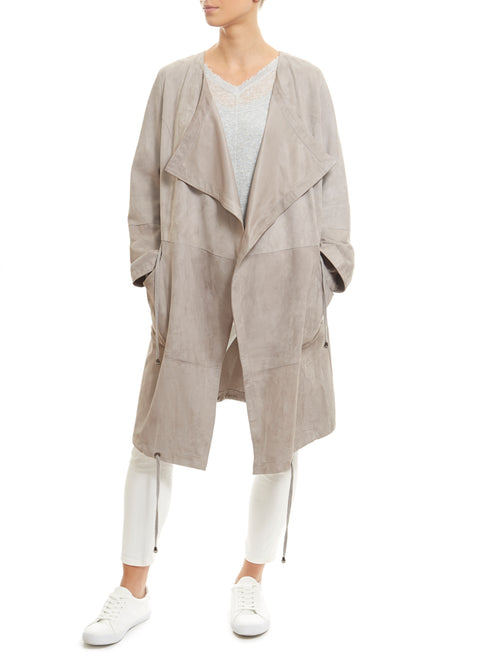 Long Light Grey Suede Coat Jessimara - Jessimara