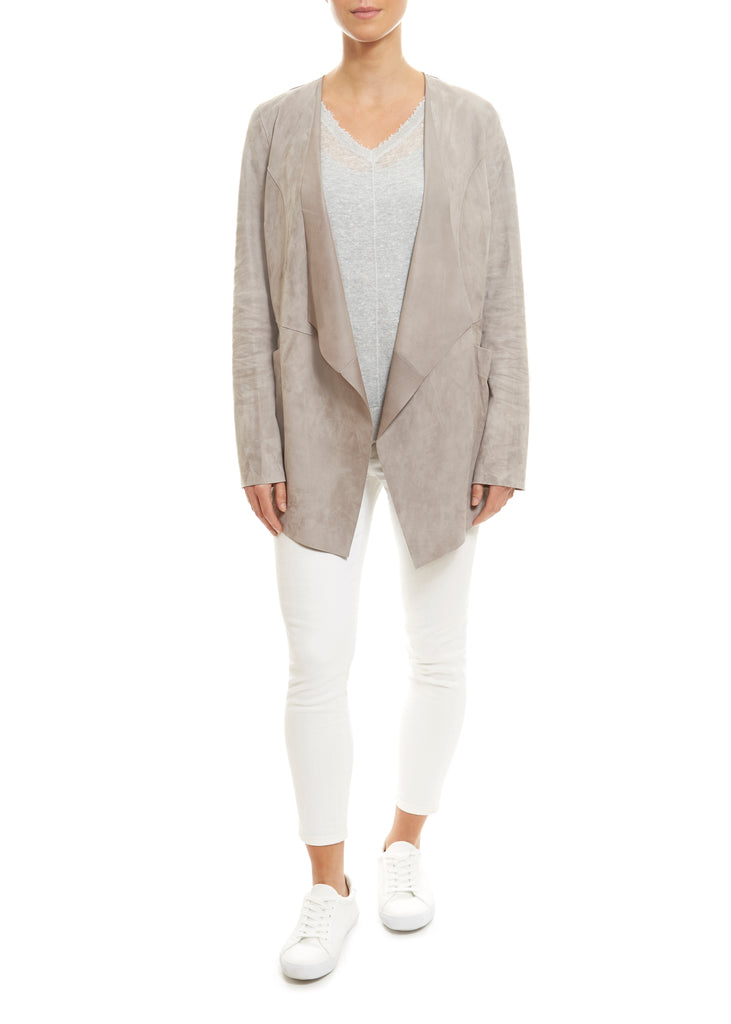 Light Grey Short Suede Jacket | Jessimara London