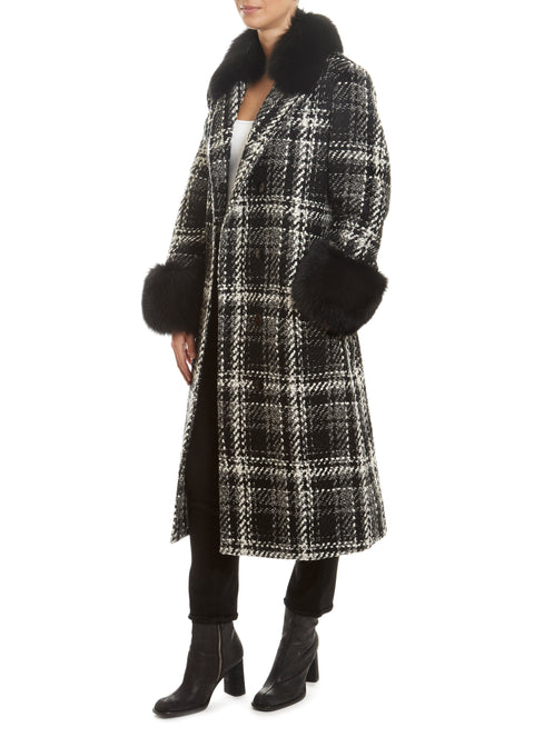 Tweed Black/White With Black Cuff Coat