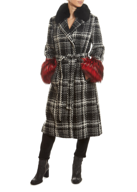 Tweed Black/White with Red Cuff Coat