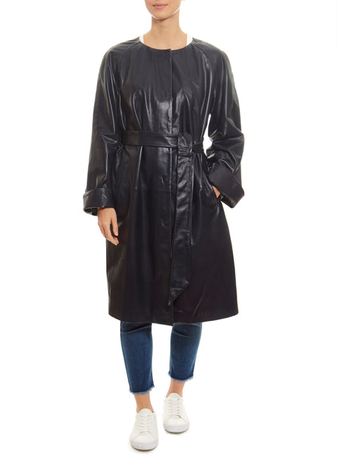 Navy Leather Belted Coat Jessimara - Jessimara