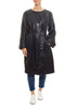 Navy Leather Belted Coat | Jessimara London
