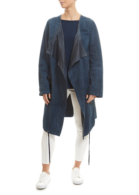 Long Navy Suede Belted Coat | Jessimara London