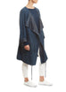 Long Navy Suede Belted Coat Jessimara - Jessimara
