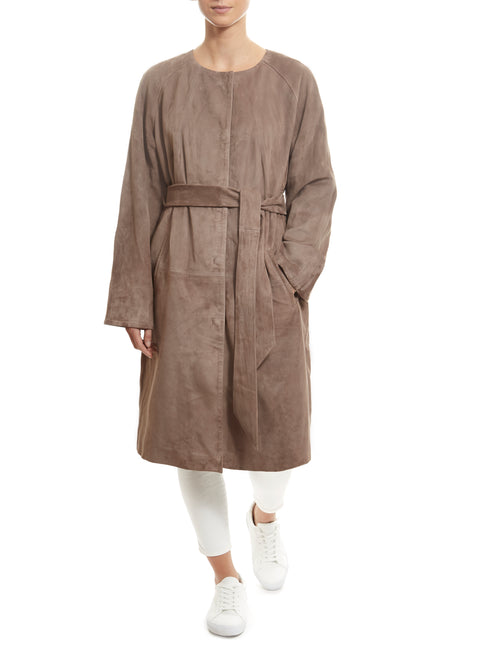 Long Taupe Suede Belted Coat | Jessimara London