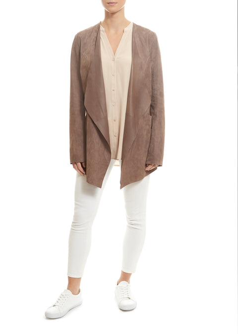 Taupe Short Suede Jacket | Jessimara London