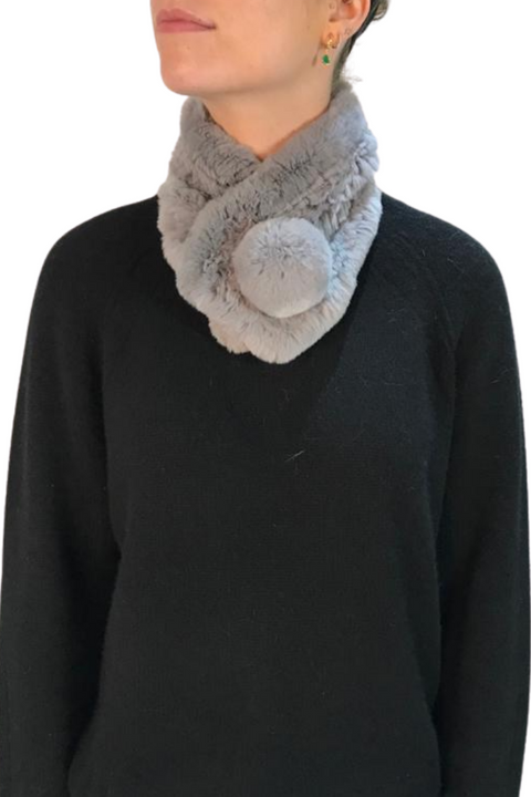 Light Grey Knitted Rabbit Bobble Luxury Fur Scarf