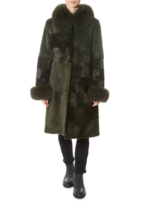 Dark Green Long Rex Rabbit Panelled Coat
