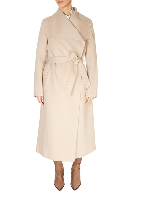'Mai' Beige Belted Wool Coat | Jessimara London