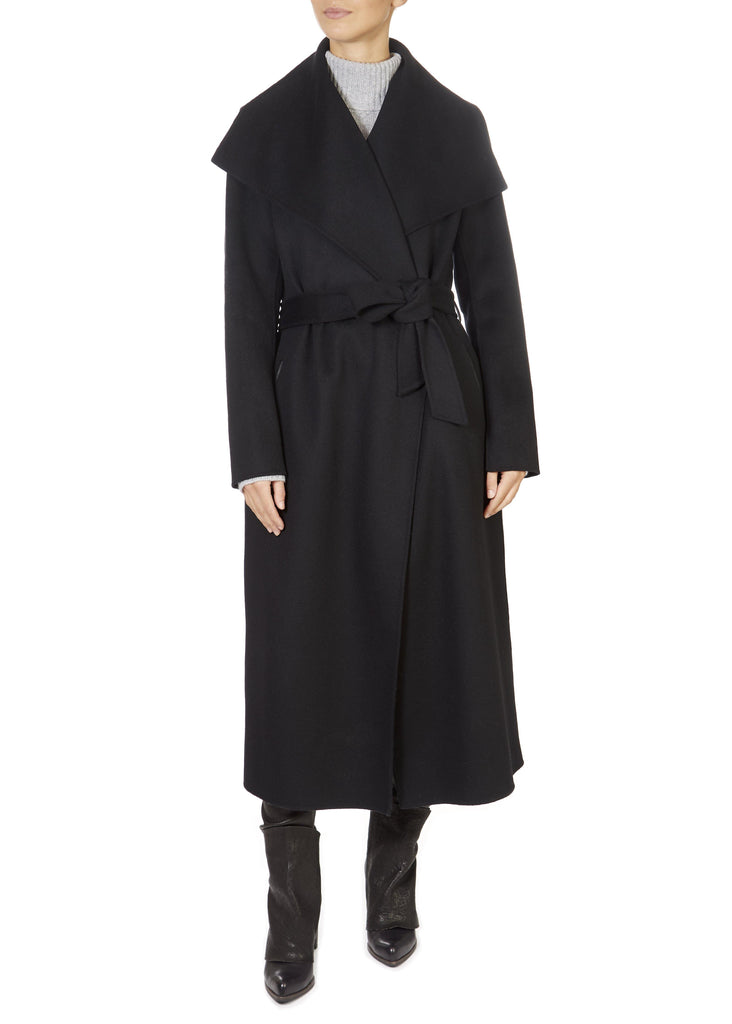 'Mai' Black Belted Wool Coat | Jessimara London