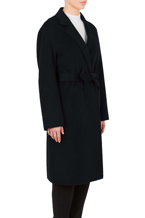 'Maguie' Black Wool Belted Coat