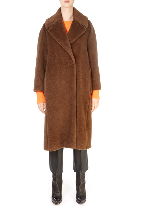 'Laumiere' Brown Oversized Alpaca Coat | Jessimara London