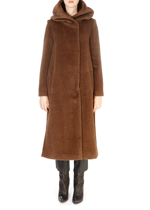 'Temporel' Brown Long Hooded Alpaca Coat | Jessimara London
