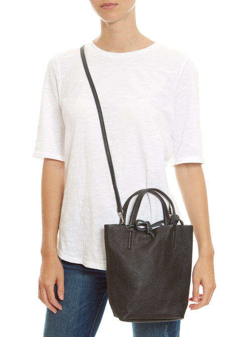 Black 'Mini' Leather Shopper Marlon Firenze - Jessimara