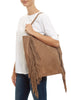 Taupe 'Big' Suede Shopper With Fringing | Jessimara London