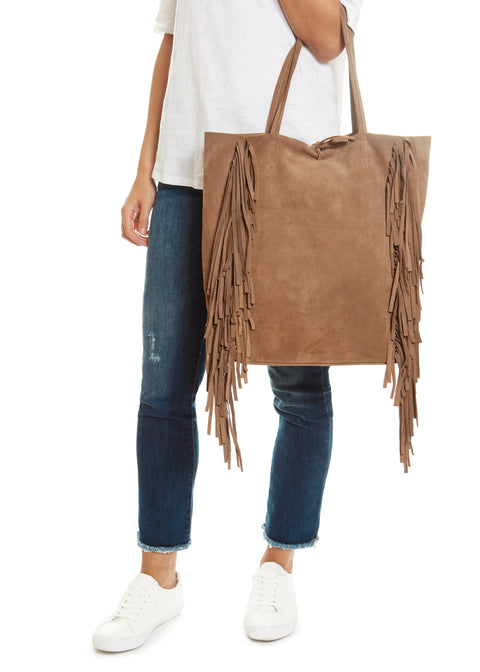 Taupe 'Big' Suede Shopper With Fringing Marlon Firenze - Jessimara