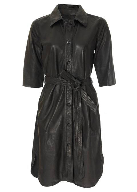 'Clare' Black Leather Dress