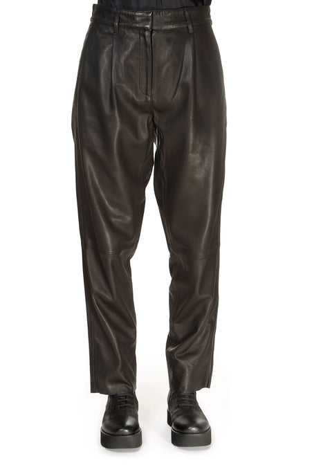 'Iris' Straight Leg Leather Trousers