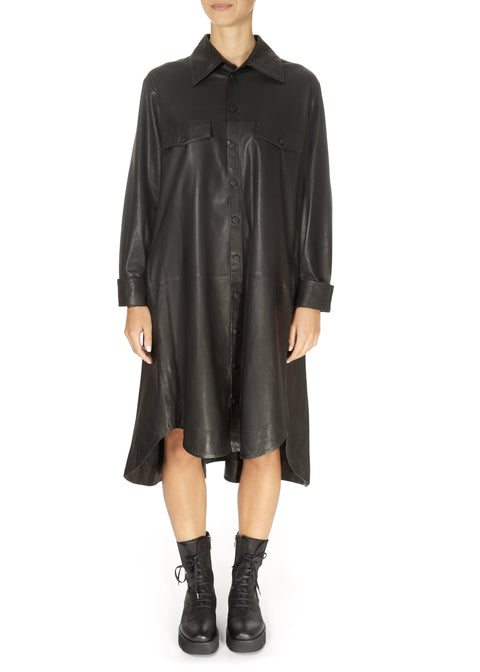 'Nanna' Black Leather Shirt Dress