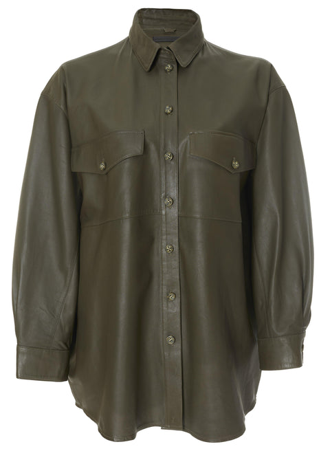 'Agnes' Dark Green Leather Shirt