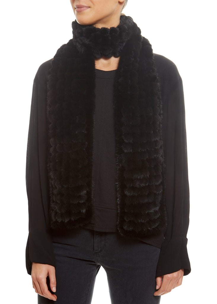 Knitted Mink Bobble Open Luxury Fur Scarf | Jessimara London