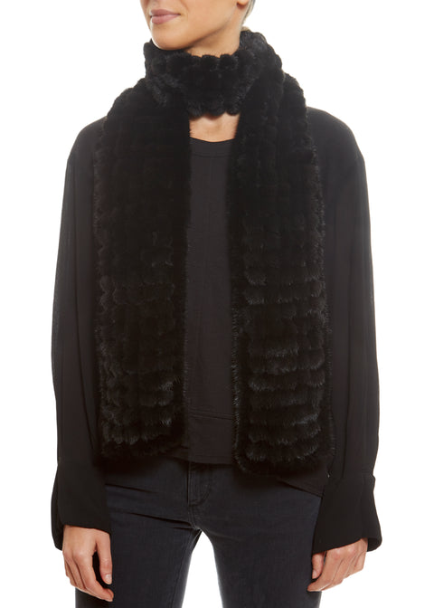 Knitted Mink Bobble Open Scarf Fur5eight - Jessimara