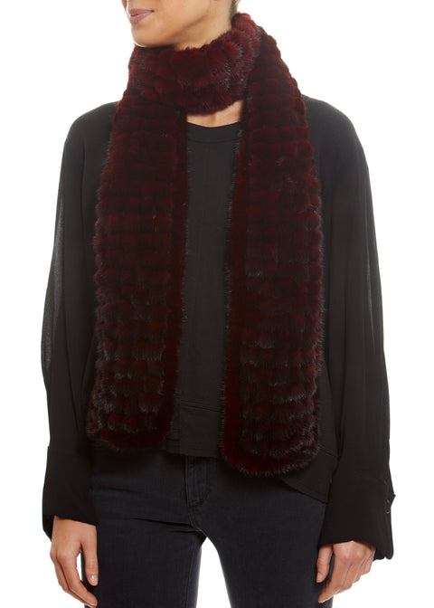 Knitted Mink Bobble Open Scarf Fur Scarves - Jessimara