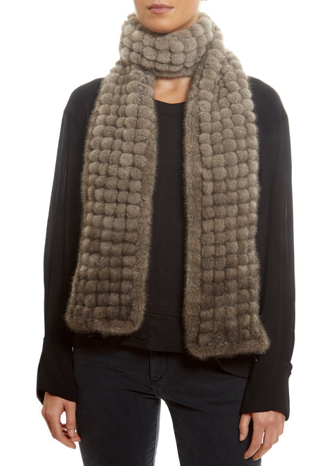 Knitted Mink 'Silver Grey' Bobble Open Scarf Fur Scarves - Jessimara