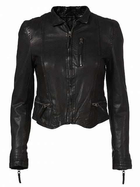 'Rucy' Black Cropped Biker Jacket | Jessimara London