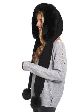 Jessimara Black Hooded Scarf With Fox Trim