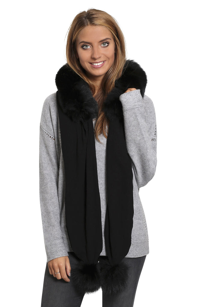 Jessimara Black Hooded Scarf With Fox Trim - Jessimara