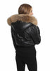 Black Leather Puffer Bomber Coat With Raccoon Fur Trim | Jessimara London