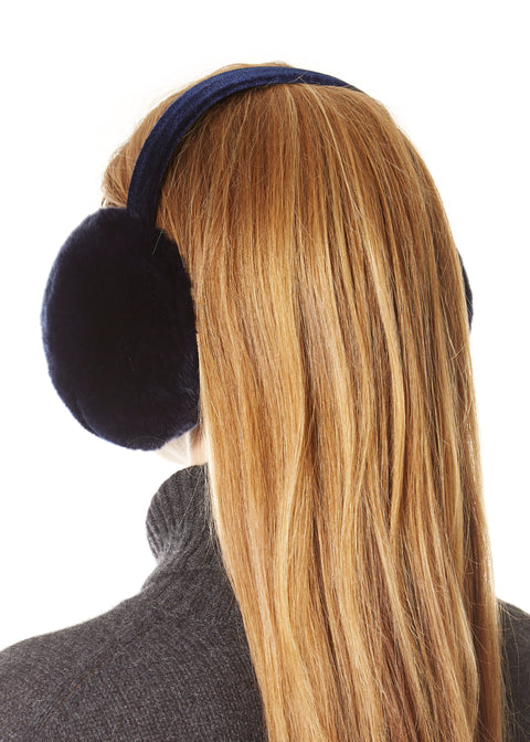 Navy Rabbit Ear Muffs | Jessimara London