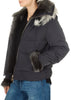'Zoia' Short Black Puffer Coat With Sheepskin Fur Trim