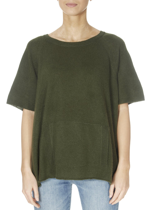 'Alyn' Forest Green Short Sleeve Jumper With Front Pouch | Jessimara London