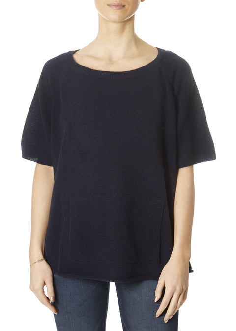 'Alyn' Navy Scoop Neck Crop Sleeve With Pocket Top | Jessimara London