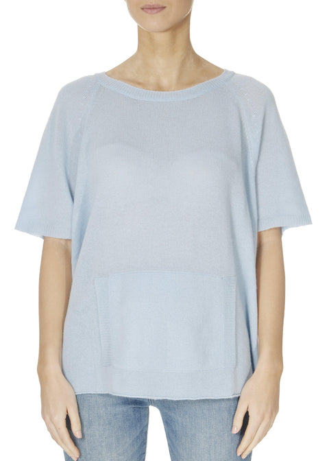 'Alyn' Pearl Blue Short Sleeve Jumper With Front Pouch | Jessimara London
