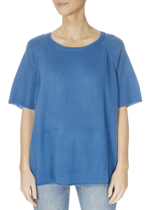 'Alyn' Persian Blue Short Sleeve Jumper With Front Pouch | Jessimara London