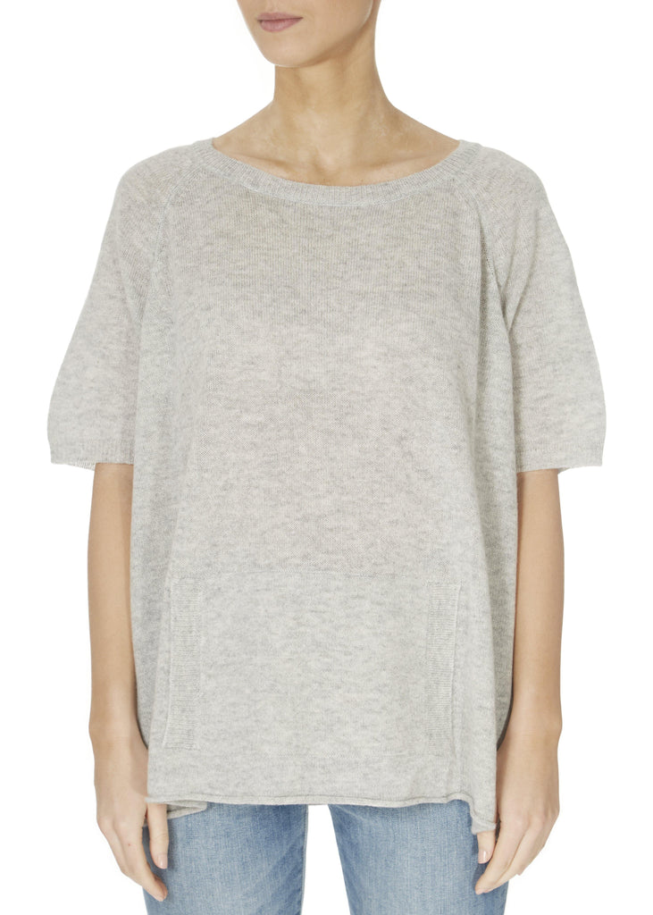 'Alyn' Silver Marl Short Sleeve Jumper With Front Pouch | Jessimara London