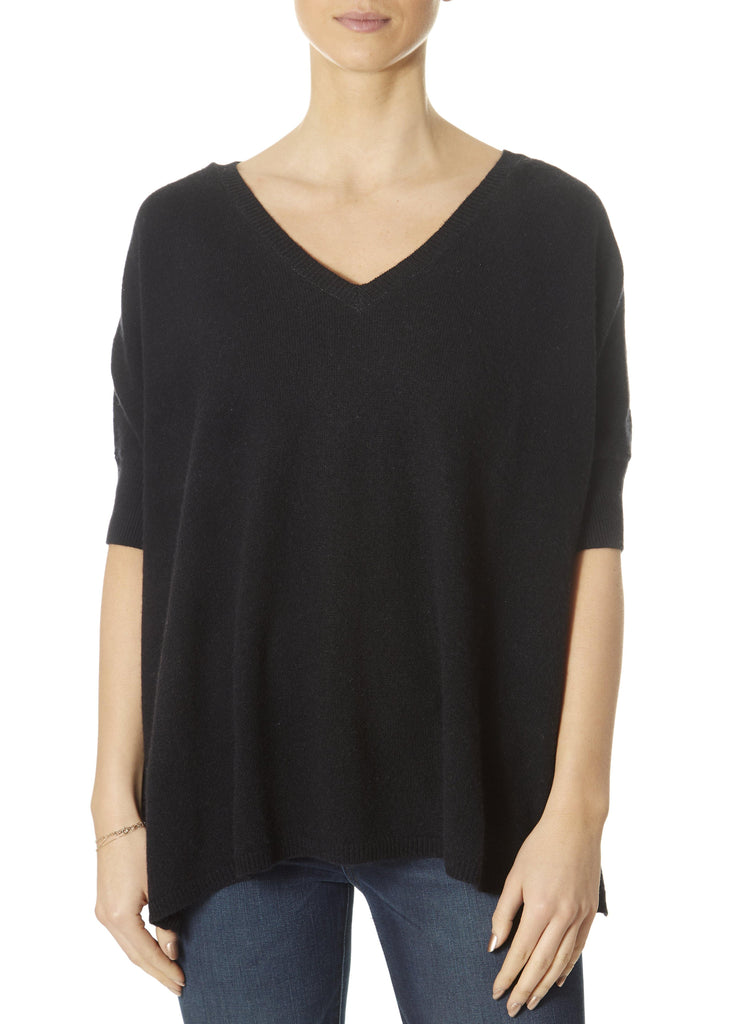 'Bonnie' Black V-Neck Top With Short Rib Sleeve | Jessimara London